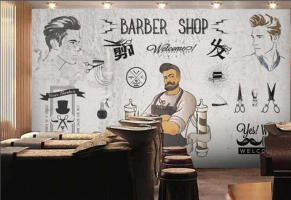 European-retro-beauty-hairdressing-tooling-salon-hair-salon-special-wallpaper-fashion-personality-creative-mural