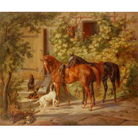 Adam, Albrecht - Horses at the Porch_(3000х2500)